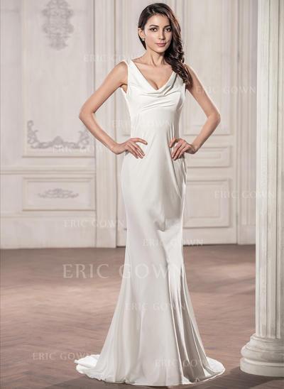 Trumpet/Mermaid Cowl Neck Sweep Train Jersey Wedding Dress (002059192)