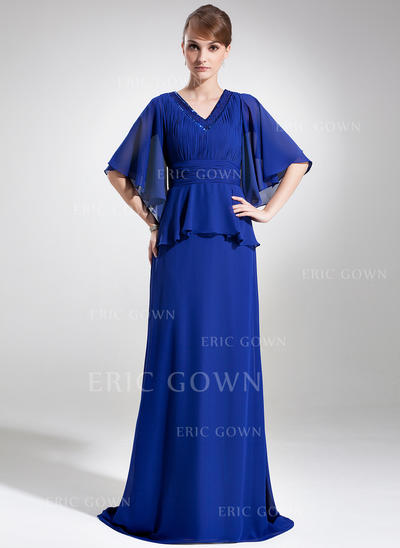 A-Line/Princess Chiffon 1/2 Sleeves V-neck Sweep Train Zipper Up Mother of the Bride Dresses (008006073)