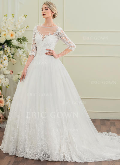 Ball-Gown Scoop Neck Chapel Train Wedding Dress With Beading Sequins (002095835)