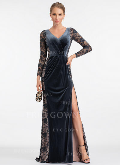 Sheath/Column V-neck Sweep Train Velvet Evening Dress With Split Front (017198667)