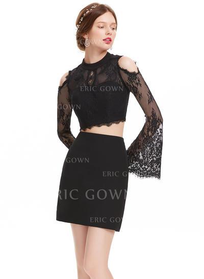 Sheath/Column Scoop Neck Short/Mini Satin Homecoming Dresses (022214172)