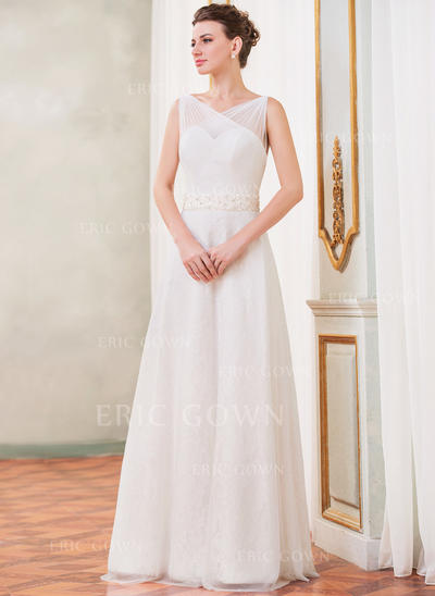 A-Line/Princess Sweetheart Floor-Length Wedding Dresses With Ruffle Beading Sequins Bow(s) (002210525)