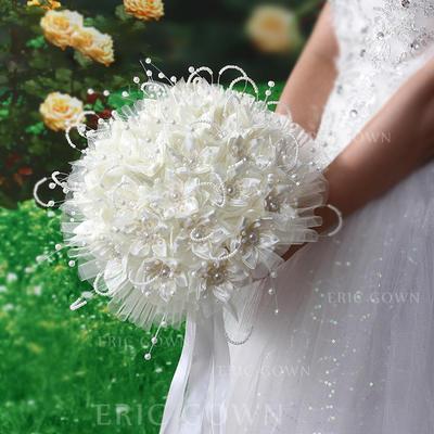"Bridal Bouquets Round Wedding Satin/PE 11.02""(Approx.28cm) Wedding Flowers (123190450)"