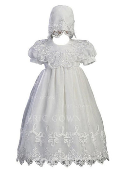 A-Line/Princess Scoop Neck Floor-length Tulle Christening Gowns (2001217415)