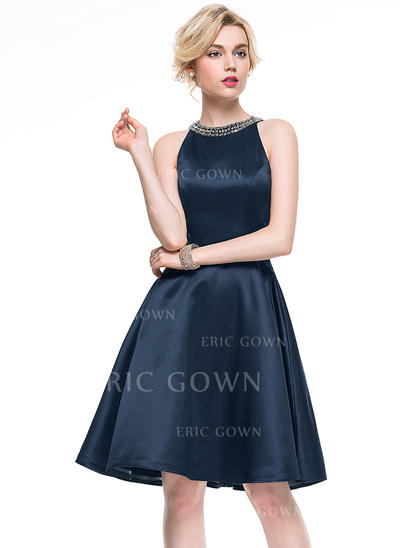 A-Line/Princess Scoop Neck Knee-Length Satin Cocktail Dress With Beading (016081171)