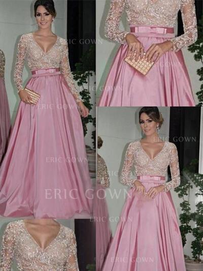 Ball-Gown Floor-Length Prom Dresses V-neck Taffeta Long Sleeves (018144666)