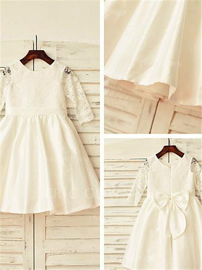 A-Line/Princess Scoop Neck Tea-length With Bow(s)/Pleated Taffeta/Lace Flower Girl Dresses (010211998)