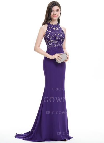 Trumpet/Mermaid Scoop Neck Sweep Train Chiffon Prom Dresses (018112484)