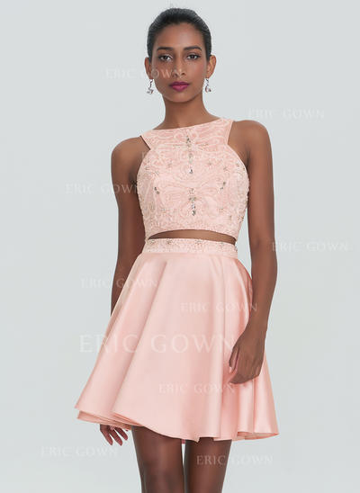 A-Line/Princess Scoop Neck Short/Mini Satin Homecoming Dresses With Beading (022214164)