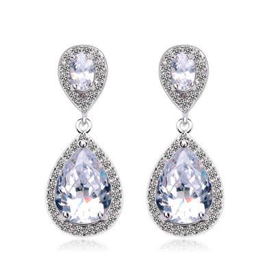 Earrings Copper/Zircon/Platinum Plated Pierced Ladies' Exquisite Wedding & Party Jewelry (011164432)