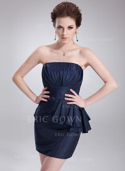 Sheath/Column Strapless Short/Mini Taffeta Cocktail Dresses With Cascading Ruffles (016021274)