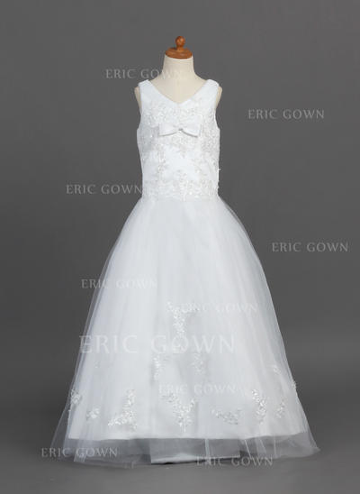 Newest V-neck A-Line/Princess Flower Girl Dresses Floor-length Satin/Tulle Sleeveless (010007487)