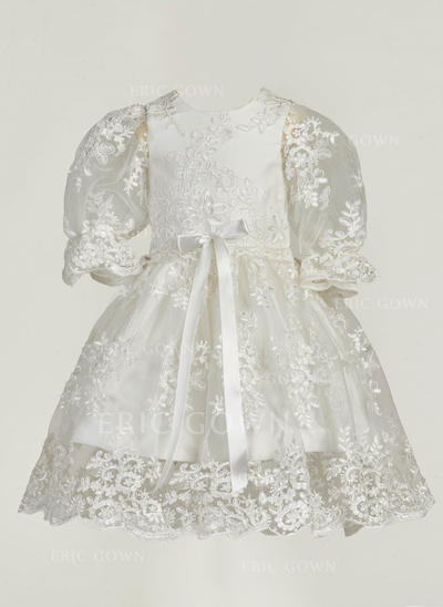 A-Line/Princess Scoop Neck Ankle-length Lace Christening Gowns (2001216862)