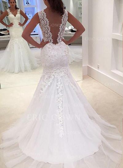 Trumpet/Mermaid Tulle Sleeveless V-neck Court Train Wedding Dresses (002147817)