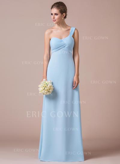 Empire Chiffon Bridesmaid Dresses Ruffle One-Shoulder Sleeveless Floor-Length (007057411)