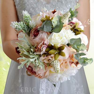 "Bridal Bouquets Round Wedding Satin/Silk 11.8""(Approx.30cm) Wedding Flowers (123189424)"