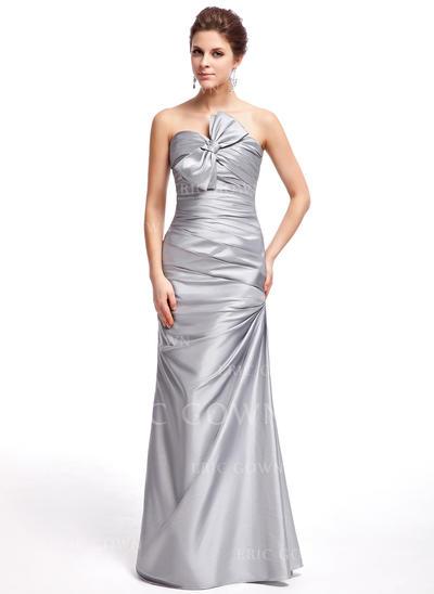 Sheath/Column Sweetheart Floor-Length Prom Dresses With Ruffle Bow(s) (018005076)