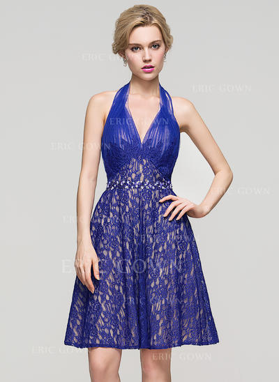A-Line/Princess Halter Knee-Length Lace Homecoming Dresses With Ruffle Beading Sequins (022214128)