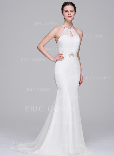 Scoop Trumpet/Mermaid Wedding Dresses Chiffon Beading Sequins Sleeveless Sweep Train (002211528)