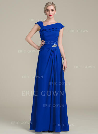 A-Line/Princess Floor-Length Chiffon Mother of the Bride Dress With Beading Sequins Cascading Ruffles (008102701)