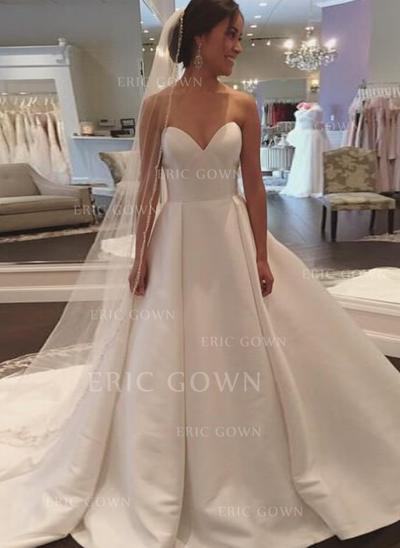Ball-Gown Sweetheart Court Train Wedding Dresses (002148111)