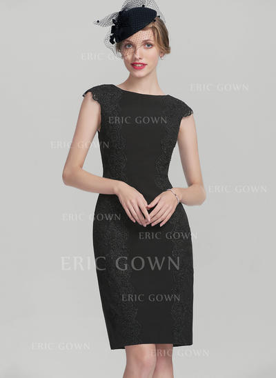 Sheath/Column Scoop Neck Knee-Length Satin Mother of the Bride Dress With Appliques Lace (008131953)