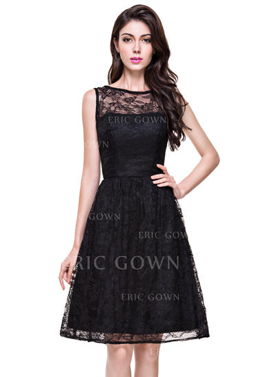 A-Line/Princess Lace Bridesmaid Dresses Scoop Neck Sleeveless Knee-Length (007199042)