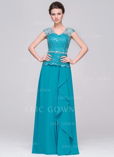 A-Line/Princess Chiffon Sleeveless V-neck Floor-Length Zipper Up Mother of the Bride Dresses (008210605)