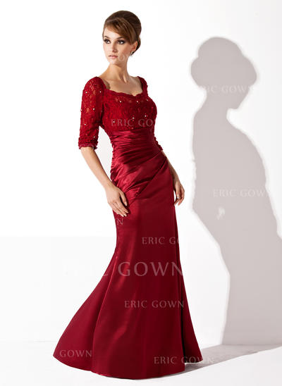 Trumpet/Mermaid Charmeuse Lace 1/2 Sleeves Scoop Neck Floor-Length Zipper Up Mother of the Bride Dresses (008005955)
