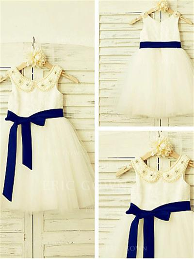 A-Line/Princess Peter Pan Collar Knee-length With Sash/Beading Satin/Tulle Flower Girl Dresses (010212027)