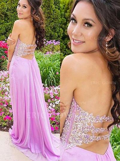 A-Line/Princess Sweetheart Sweep Train Prom Dresses With Appliques Lace (018217361)