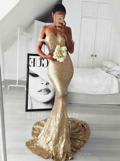 Trumpet/Mermaid Off-the-Shoulder Sweep Train Sequined Evening Dresses (017217881)