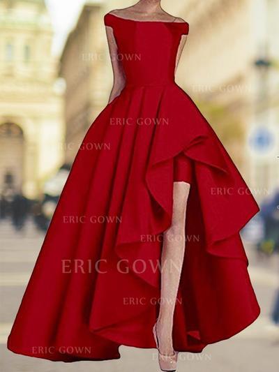 A-Line/Princess Off-the-Shoulder Asymmetrical Evening Dresses With Cascading Ruffles (017218535)