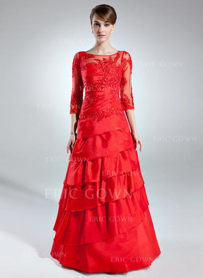 A-Line/Princess Taffeta 3/4 Sleeves Scoop Neck Floor-Length Zipper Up Mother of the Bride Dresses (008006255)