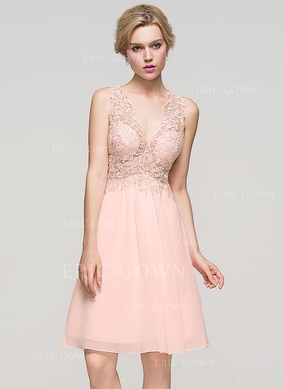A-Line/Princess V-neck Knee-Length Chiffon Homecoming Dresses (022214127)