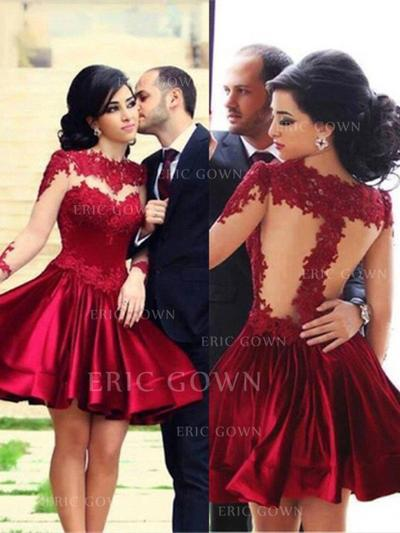 A-Line/Princess High Neck Knee-Length Prom Dresses With Lace (018210277)