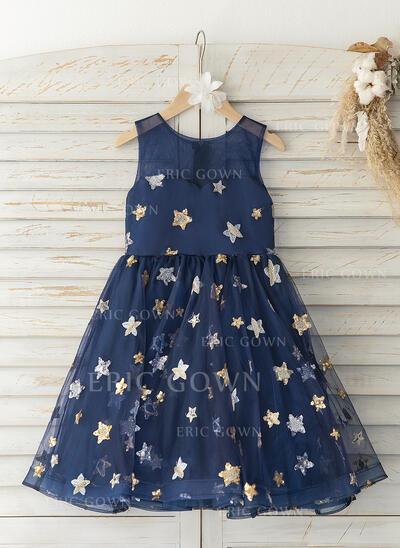A-Line Knee-length Flower Girl Dress - Tulle Sleeveless Scoop Neck (010193065)