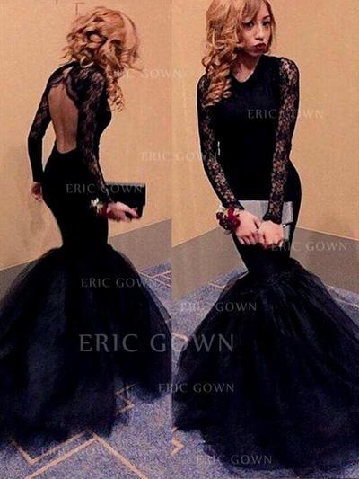 Trumpet/Mermaid Floor-Length Prom Dresses Scoop Neck Tulle Long Sleeves (018145863)
