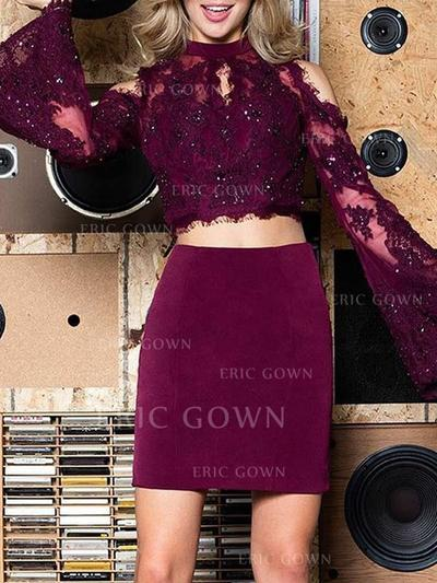Sheath/Column Scoop Neck Short/Mini Homecoming Dresses With Appliques Lace (022216302)
