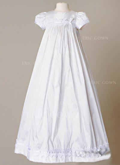 A-Line/Princess Scoop Neck Floor-length Satin Christening Gowns With Bow(s) (2001217388)
