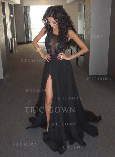 A-Line/Princess Scoop Neck Court Train Prom Dresses With Split Front (018148510)