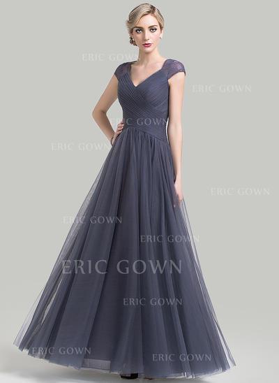 A-Line/Princess Tulle Sleeveless V-neck Floor-Length Zipper Up Mother of the Bride Dresses (008085285)