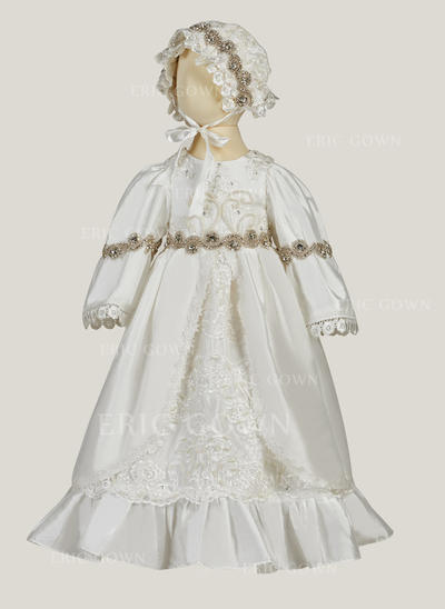 A-Line/Princess Scoop Neck Floor-length Satin Lace Christening Gowns With Beading (2001216849)