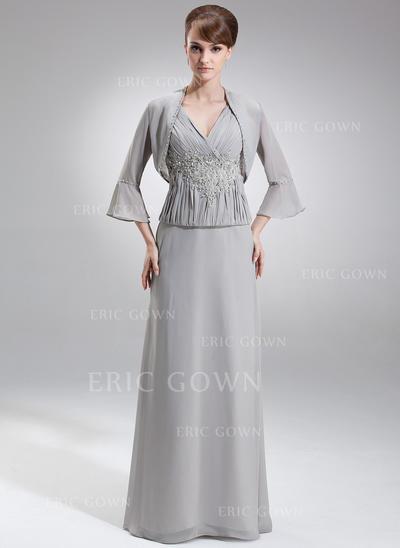 A-Line/Princess Chiffon Sleeveless V-neck Floor-Length Zipper Up Mother of the Bride Dresses (008006214)