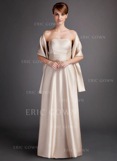 A-Line/Princess Charmeuse Bridesmaid Dresses Ruffle Strapless Sleeveless Floor-Length (007000902)