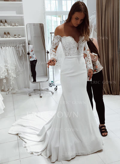 Trumpet/Mermaid Off-The-Shoulder Court Train Wedding Dresses With Lace (002218058)