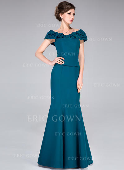 Trumpet/Mermaid Chiffon Sleeveless Off-the-Shoulder Floor-Length Zipper Up Mother of the Bride Dresses (008040848)