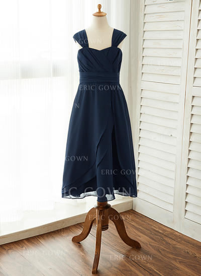 A-Line/Princess Ankle-length Flower Girl Dress - Chiffon Sleeveless Square Neckline With Ruffles (010125833)