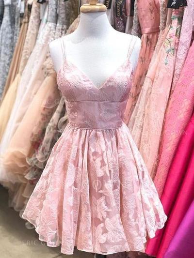 A-Line/Princess V-neck Short/Mini Homecoming Dresses With Ruffle (022219331)