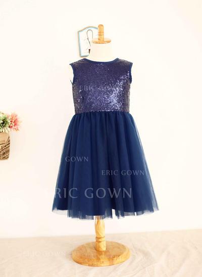 Ball Gown Scoop Neck Knee-length Tulle/Sequined Sleeveless Flower Girl Dresses (010196723)